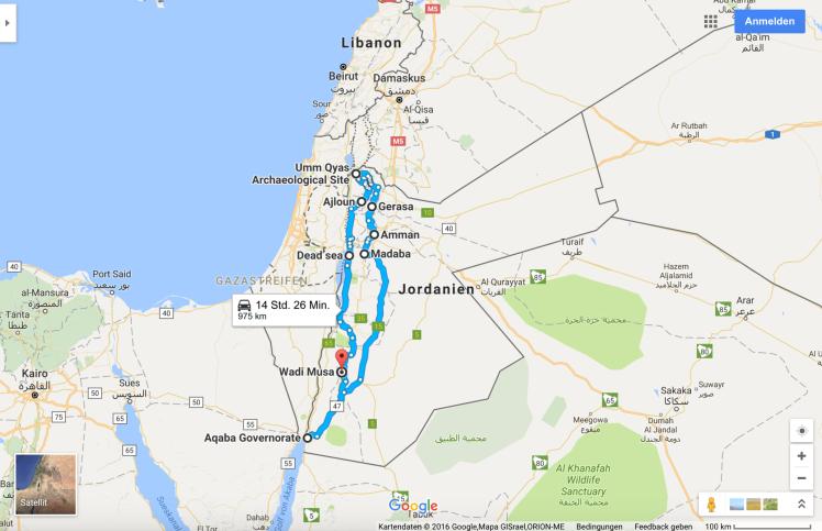 Rundreise Jordanien Google Maps